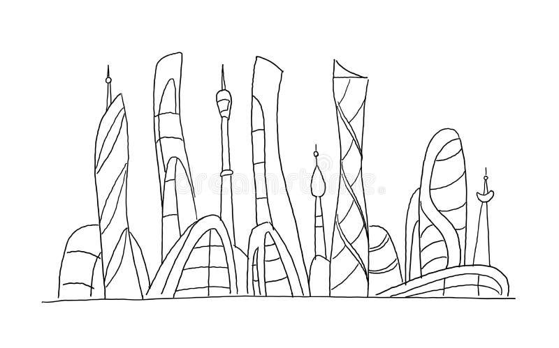 Edificios altos increíbles de la ciudad y utópicos fantásticos inventados del bosquejo del rascacielos acción dibujada mano del v ilustración del vector