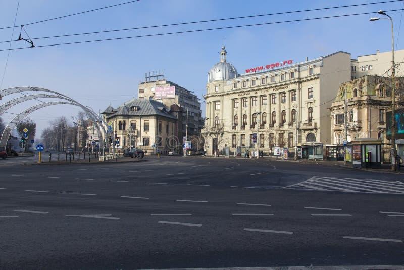 Edificios-ASE viejos de Bucarest imágenes de archivo libres de regalías