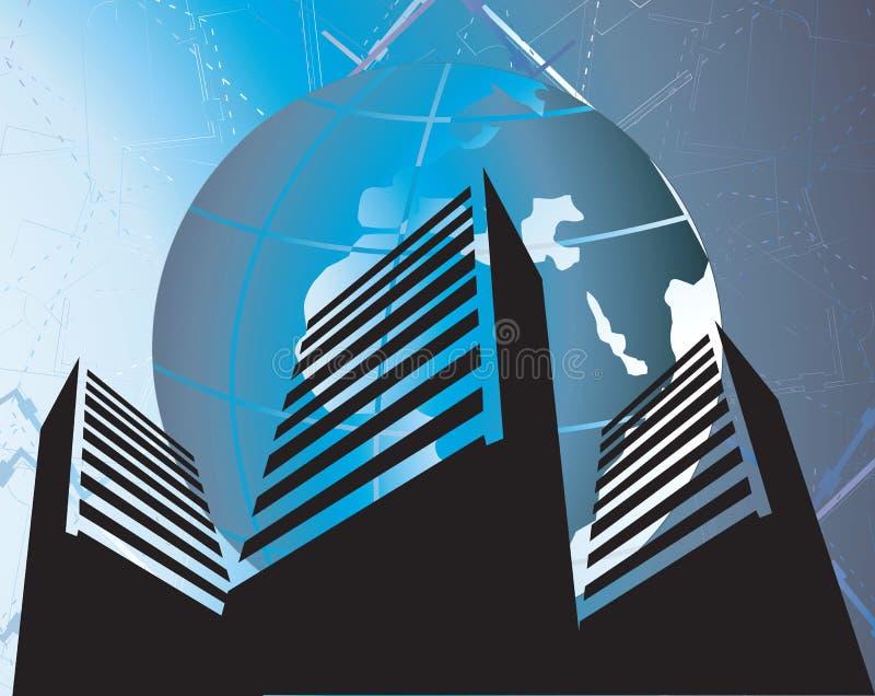 edificios bajo un globo ilustración del vector