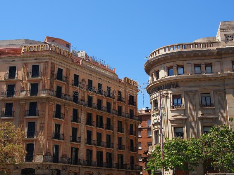 Edificios bien preservados, Barcelona imagenes de archivo