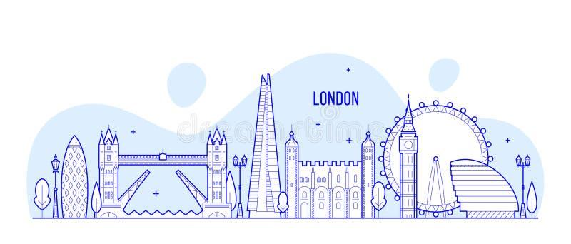Edificios BRITÁNICOS de la ciudad del vector de Inglaterra del horizonte de Londres ilustración del vector
