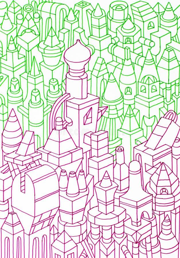 Edificios/casas dibujados mano stock de ilustración
