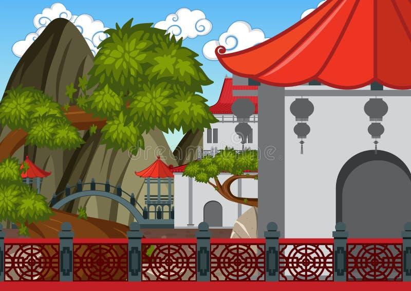 Edificios chinos de la escena del fondo con el jardín ilustración del vector