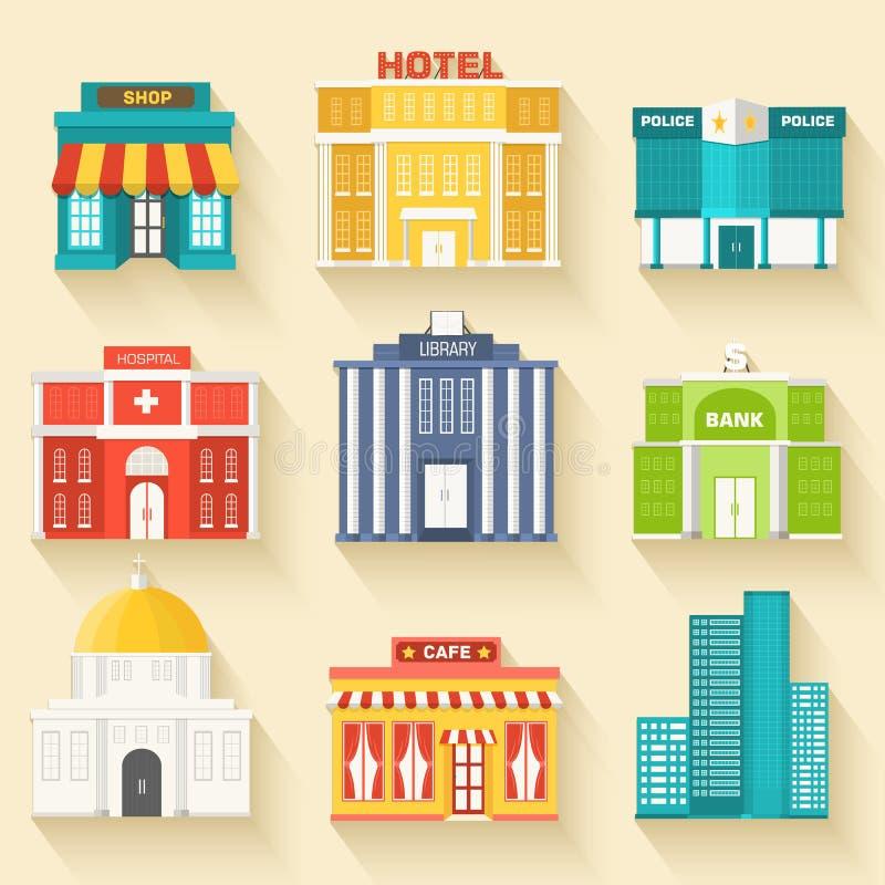 Edificios coloridos planos del sity del vector fijados Iconos libre illustration
