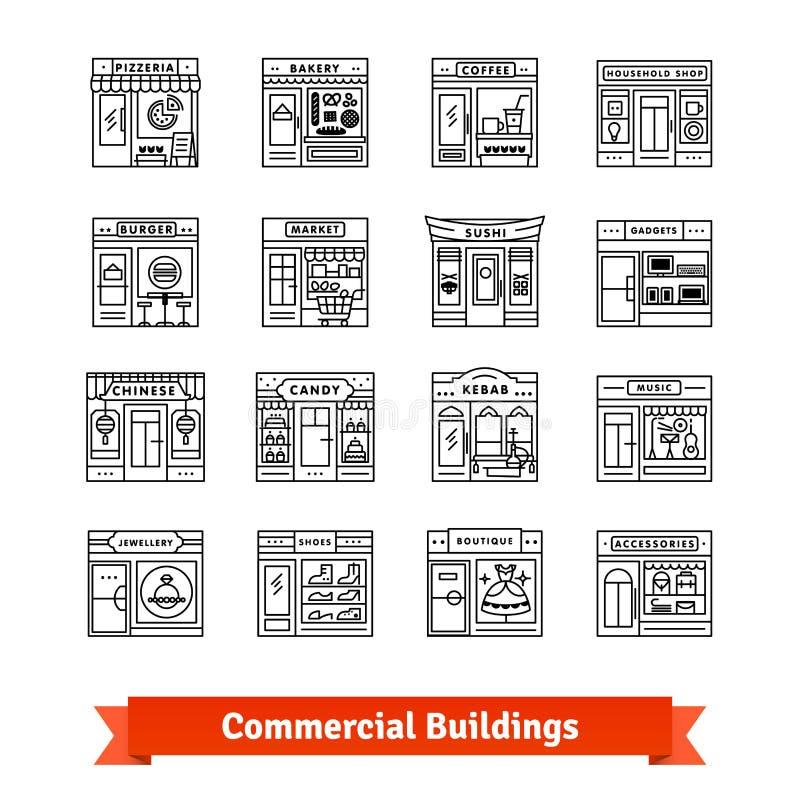 Edificios comerciales fijados Línea fina iconos del arte ilustración del vector