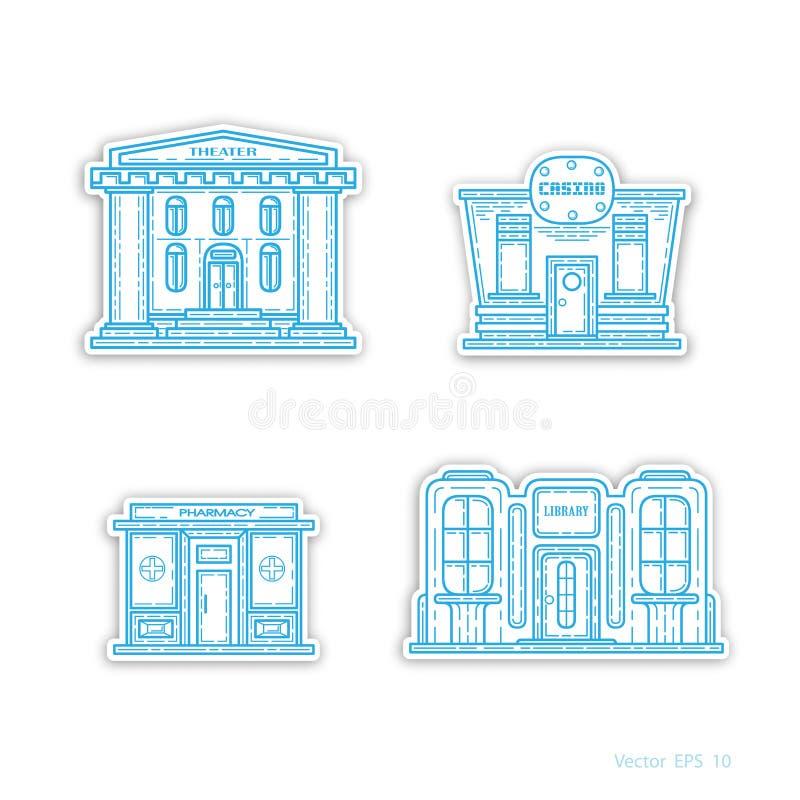 Edificios comerciales urbanos, iconos, vector libre illustration