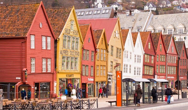 Edificios de Bryggen en Bergen, Noruega imagen de archivo