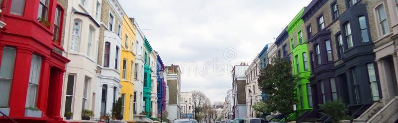 Edificios de Colorfull, Notting Hill, Londres foto de archivo libre de regalías