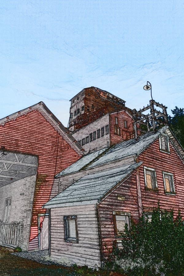 Edificios de decaimiento del molino de la mina de Kennicott ilustración del vector