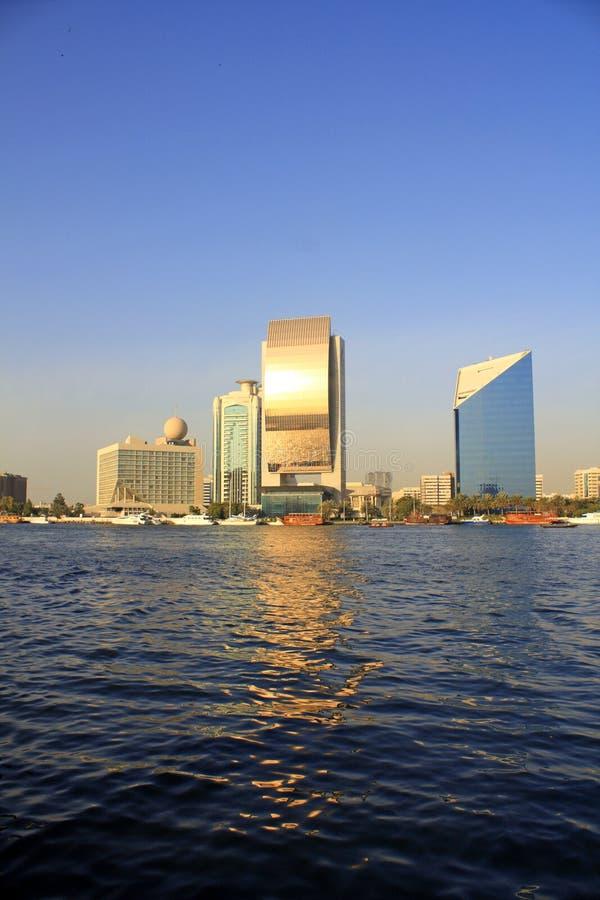 Edificios de Dubai Creek, United Arab Emirates imágenes de archivo libres de regalías