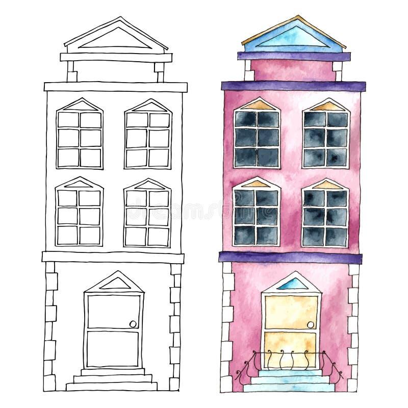 Edificios de la acuarela libre illustration