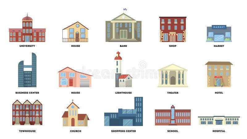 Edificios de la ciudad fijados stock de ilustración