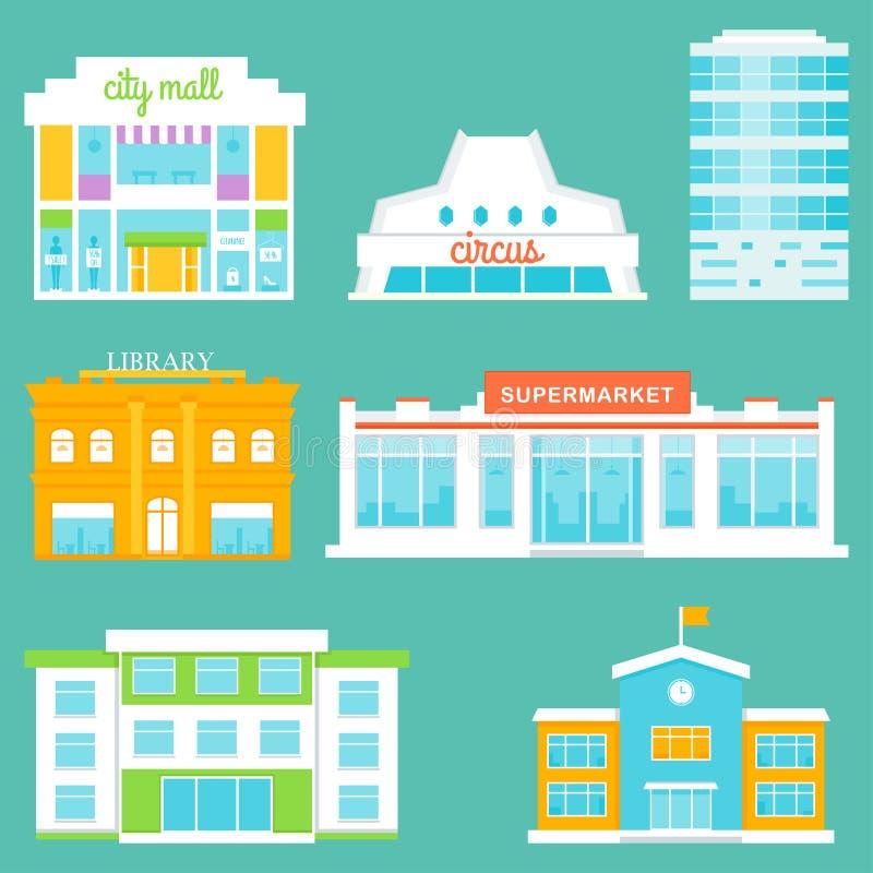 Edificios de la ciudad fijados Alameda de compras, circo, edificio de oficinas, biblioteca, supermercado, escuela libre illustration