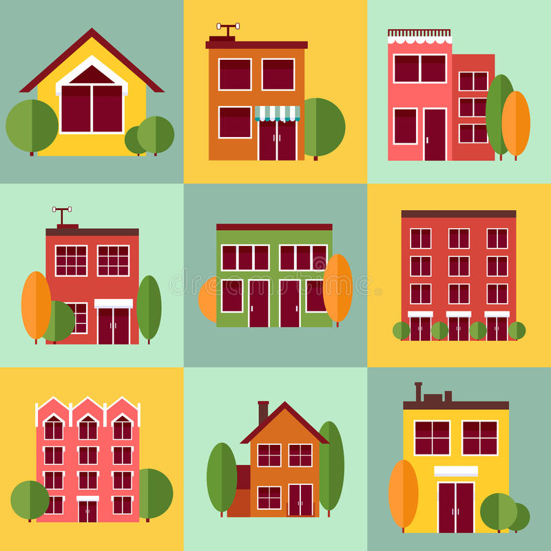 Edificios de la ciudad fijados en estilo plano del diseño ilustración del vector
