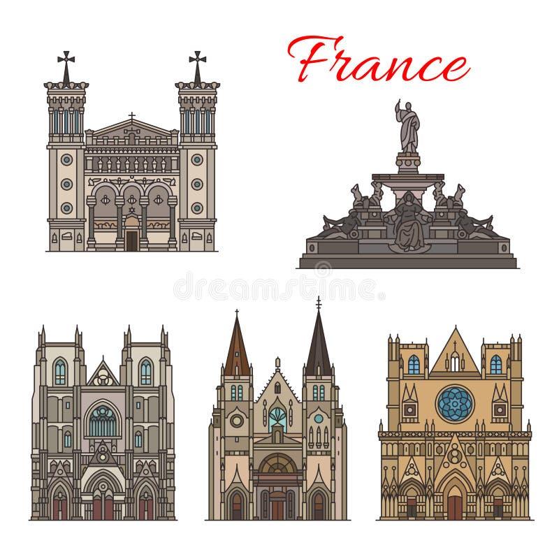 Edificios de la fachada del vector de las señales del viaje de Francia libre illustration
