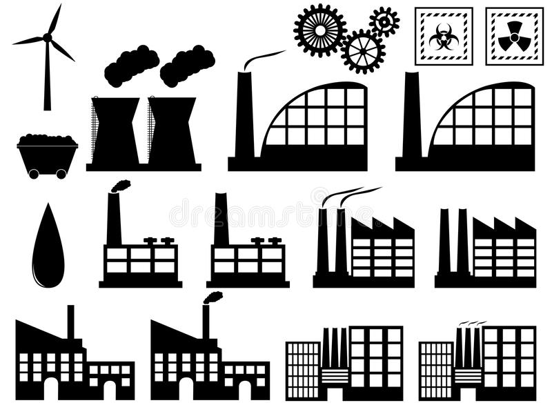 Edificios de la industria en blanco stock de ilustración