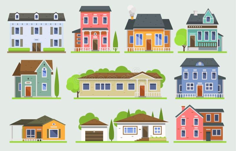 Edificios de la opinión de la calle de la ciudad del vector del facede de la casa de la cabaña de la construcción de viviendas de libre illustration