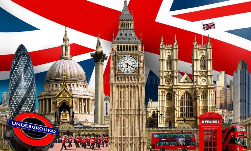 Edificios de la señal del horizonte de Londres fotos de archivo