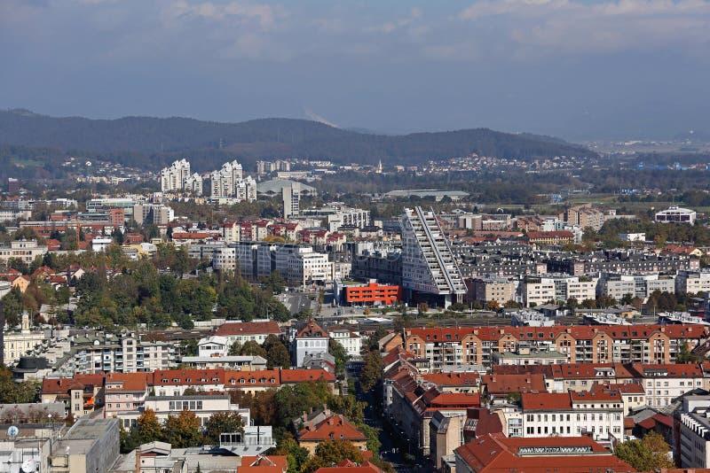 Edificios de Ljubljana aéreos imagen de archivo libre de regalías