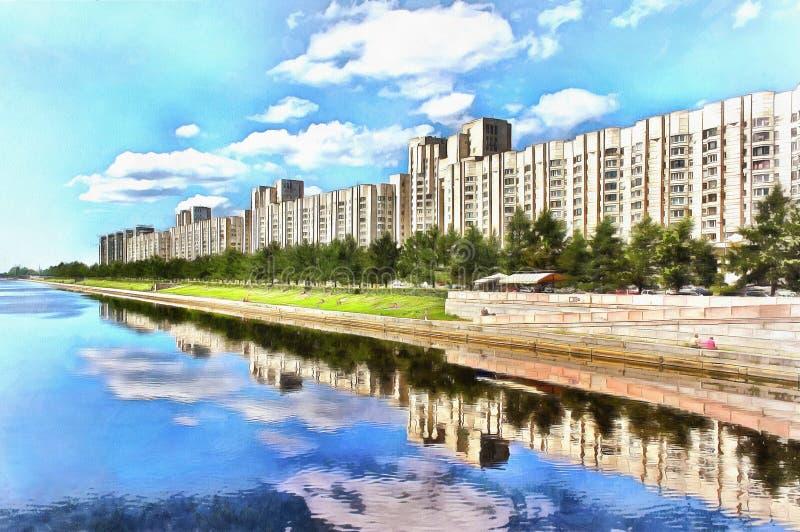 Edificios de varios pisos del terraplén de Novosmolenskaya en el río Smolenka ilustración del vector