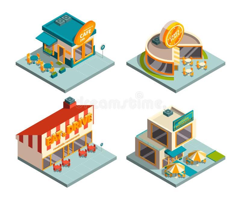 Edificios del café de la ciudad Imágenes isométricas ilustración del vector