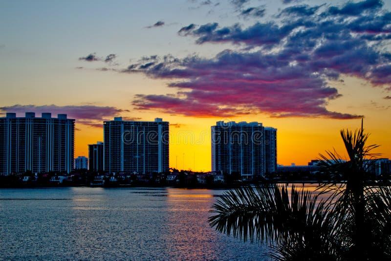 Edificios del condominio en Miami, la Florida durante puesta del sol fotografía de archivo