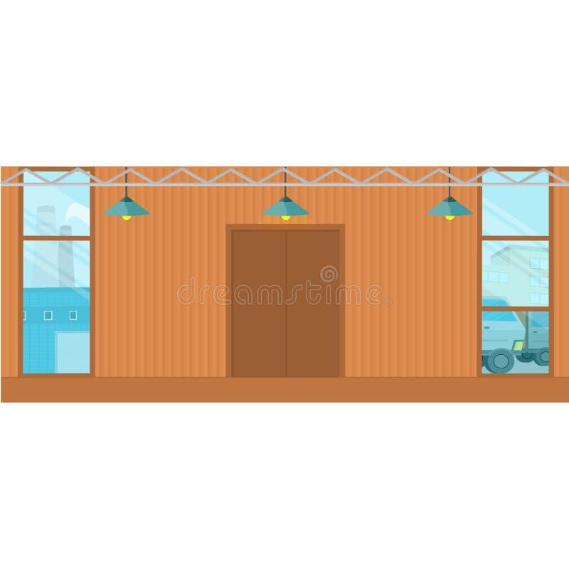 Edificios del hangar de los almacenes en diseño plano stock de ilustración