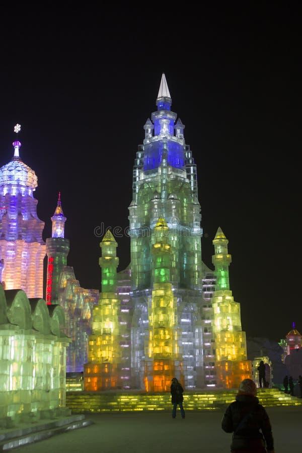 Edificios del hielo en el hielo de Harbin y el mundo de la nieve en Harbin China imágenes de archivo libres de regalías