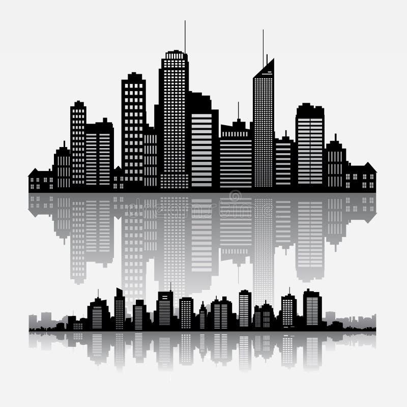 Edificios del horizonte del paisaje urbano del vector con la reflexión ilustración del vector
