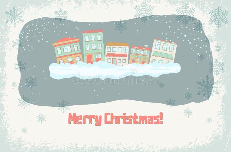 Edificios del invierno con las nevadas y los copos de nieve decorativos ilustración del vector