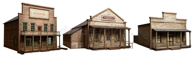 Edificios del oeste salvajes ilustración del vector
