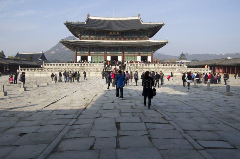 Edificios del palacio de Gyeongbokgung fotografía de archivo
