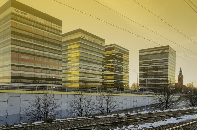 Edificios del parque empresarial de Silesia en Katowice imagen de archivo libre de regalías