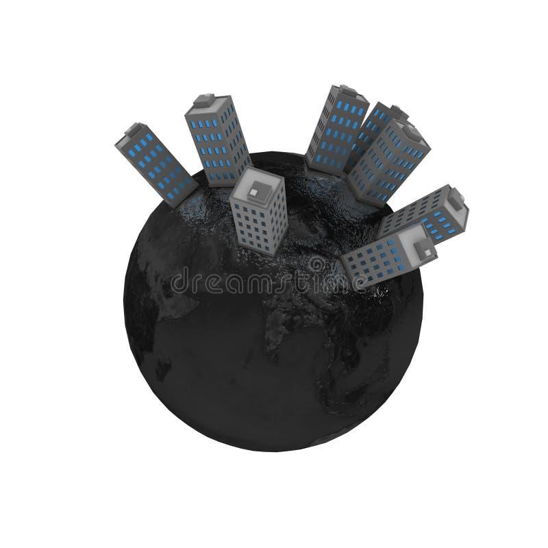 Edificios del planeta, grises ilustración del vector