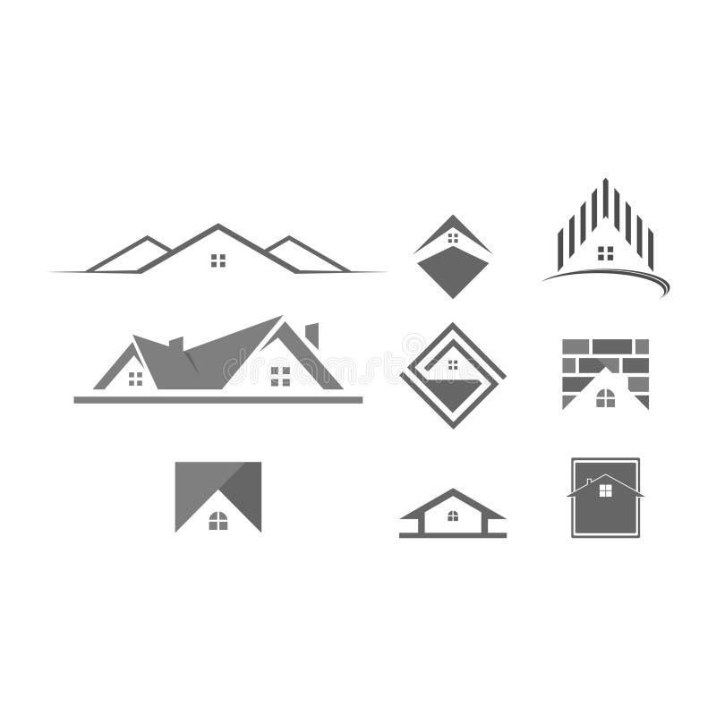 Edificios del símbolo del logotipo modernos stock de ilustración