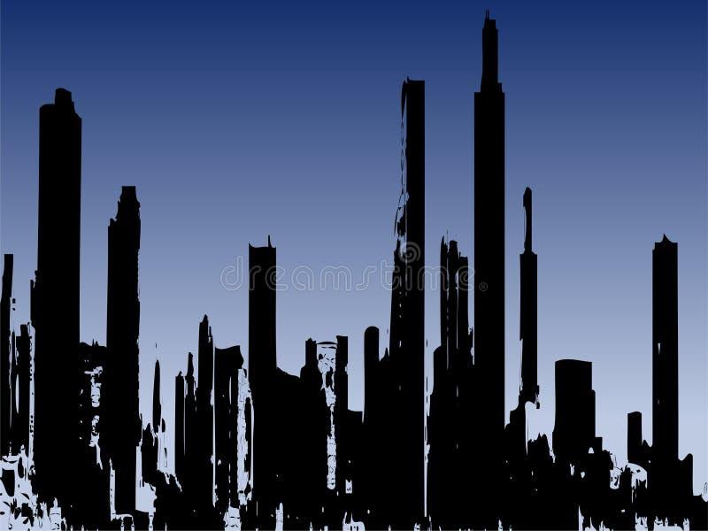 Edificios del stlye de Grunge ilustración del vector
