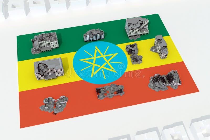 Edificios destruidos en la bandera del país Etiopía libre illustration