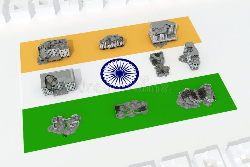 Edificios destruidos en la bandera del país la India libre illustration