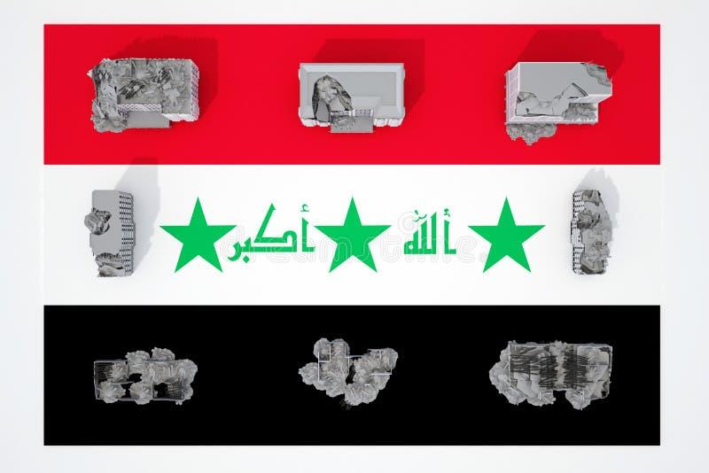 Edificios destruidos en la bandera del país Iraq ilustración del vector