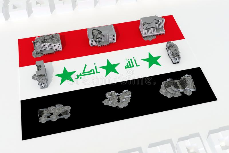 Edificios destruidos en la bandera del país Iraq libre illustration