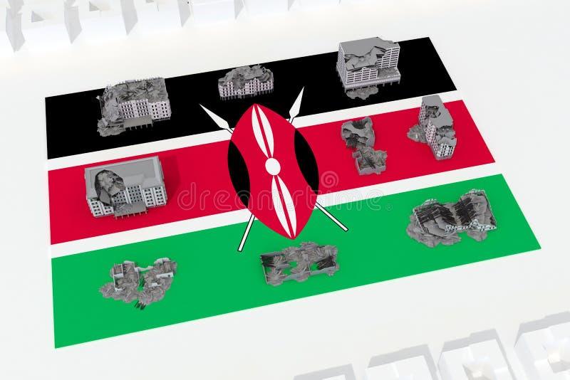 Edificios destruidos en la bandera del país Kenia libre illustration