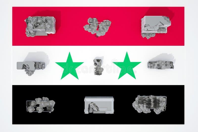 Edificios destruidos en la bandera del país Siria libre illustration