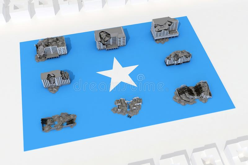 Edificios destruidos en la bandera del país Somalia ilustración del vector