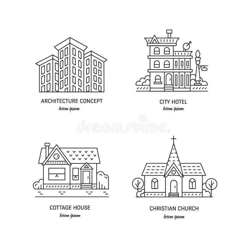 Edificios en la ciudad stock de ilustración