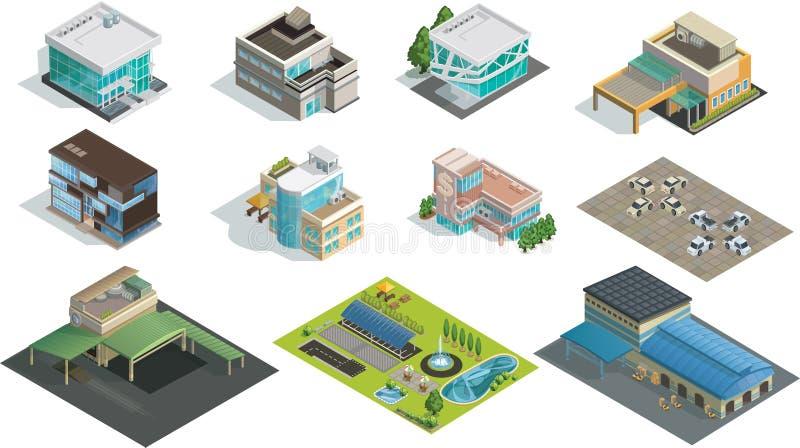 Edificios, fábrica y jardín isométricos del vector imagenes de archivo