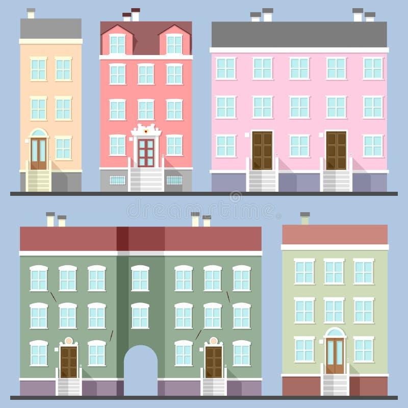 Edificios fijados stock de ilustración