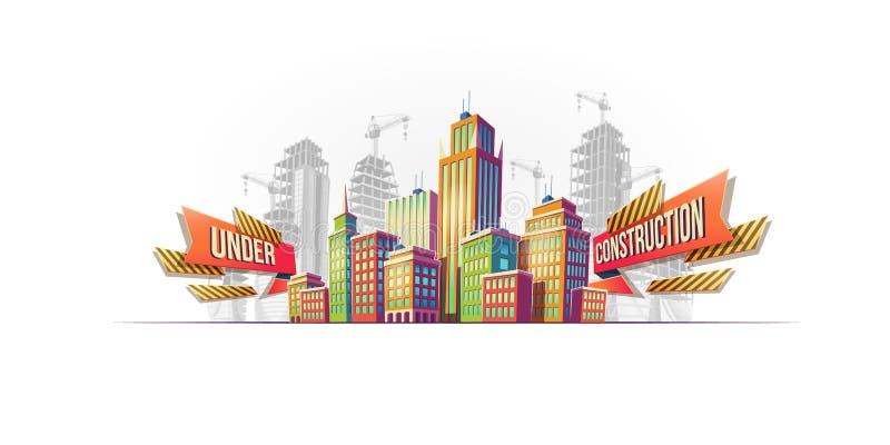 Edificios grandes de la ciudad en el fondo de edificios bajo construcción ilustración del vector