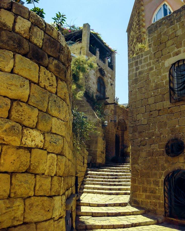 Edificios históricos de la era de las cruzadas Jaffa, Israel foto de archivo