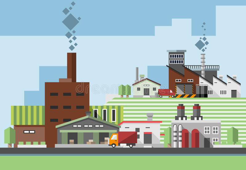 Edificios industriales planos libre illustration