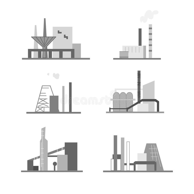 Edificios industriales y estructuras stock de ilustración